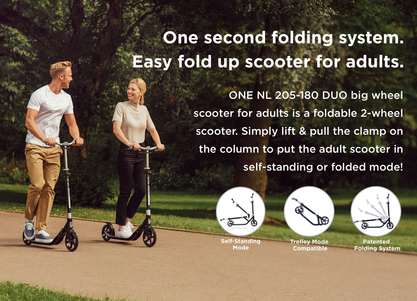 One second folding system. Easy fold up scooter for adults.