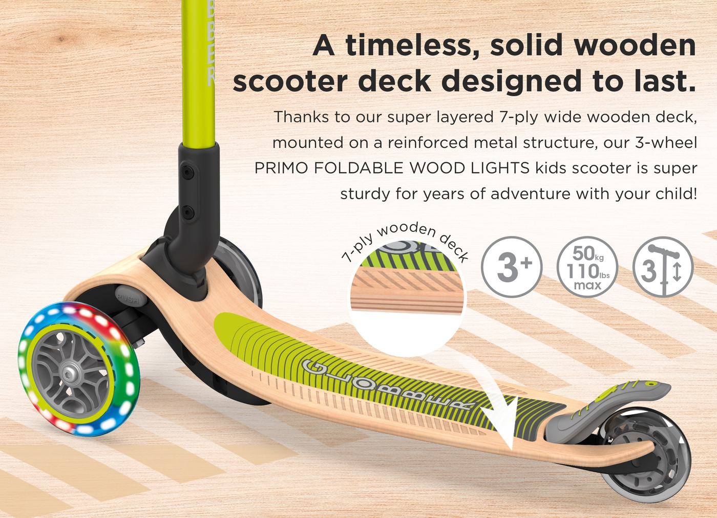 A timeless, solid wooden scooter deck designed to last.