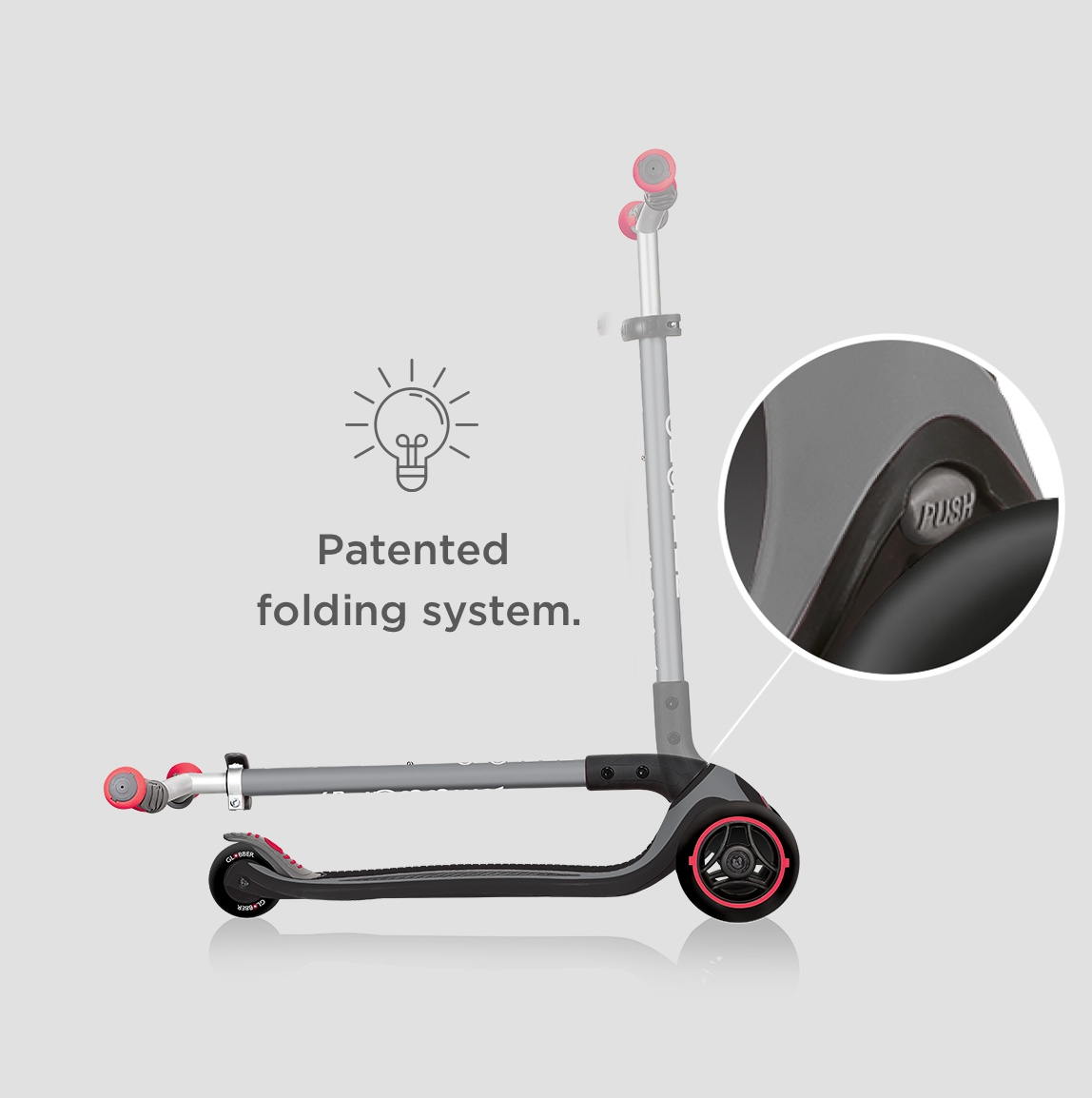 Globber-MASTER-3-wheel-foldable-scooters-with-patented-folding-system-and-push-button-mechanism