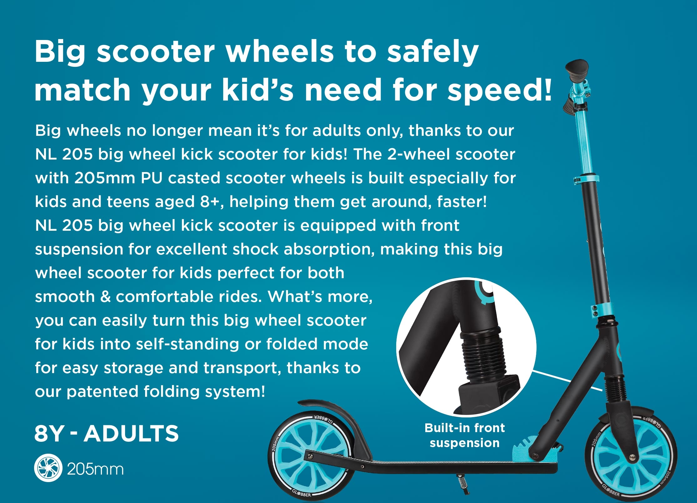 Big wheel scooter for kids with a unique one second folding system