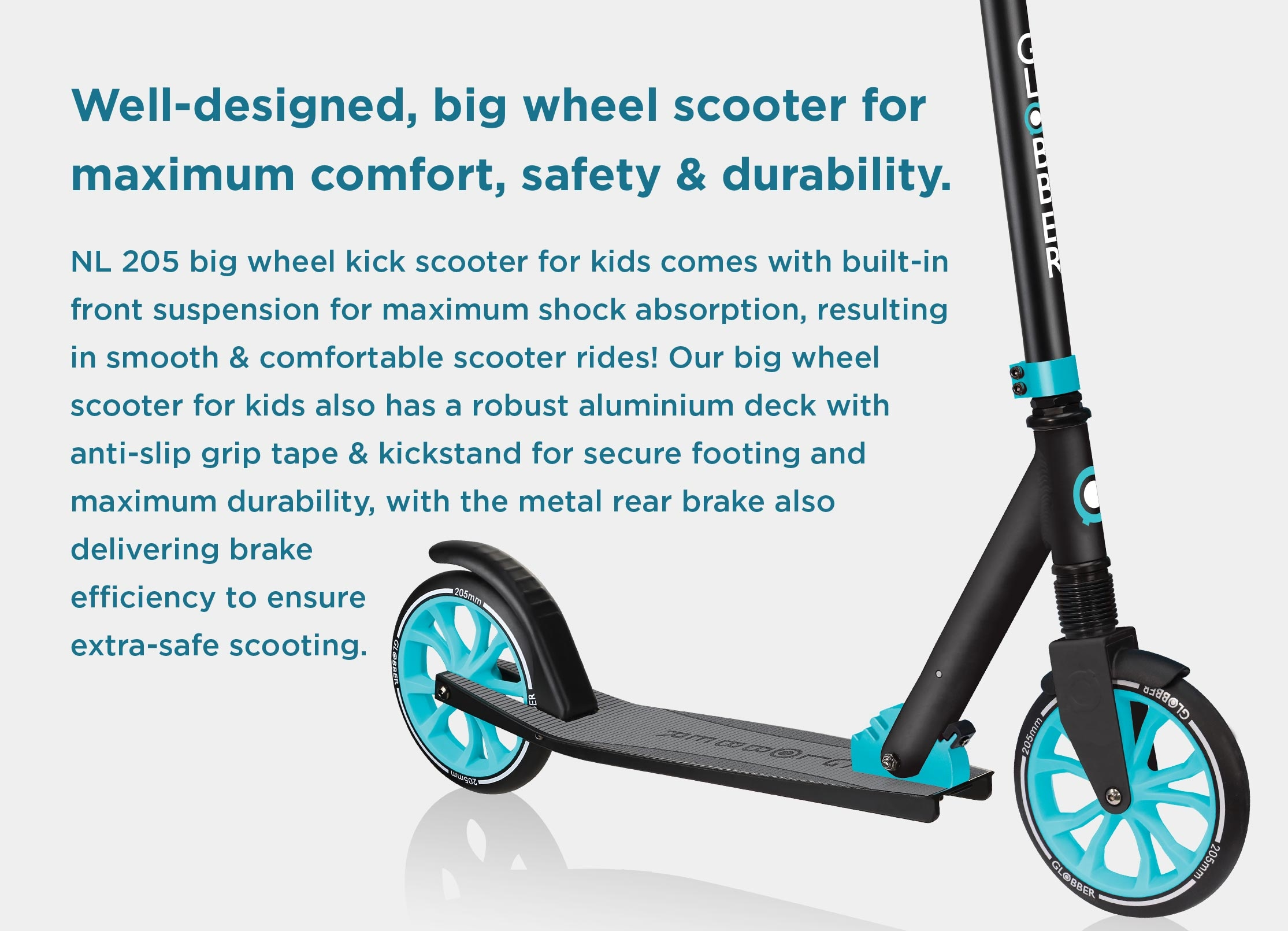 Big wheel scooter for 8 year olds+ designed for maximum comfort, durability and safety