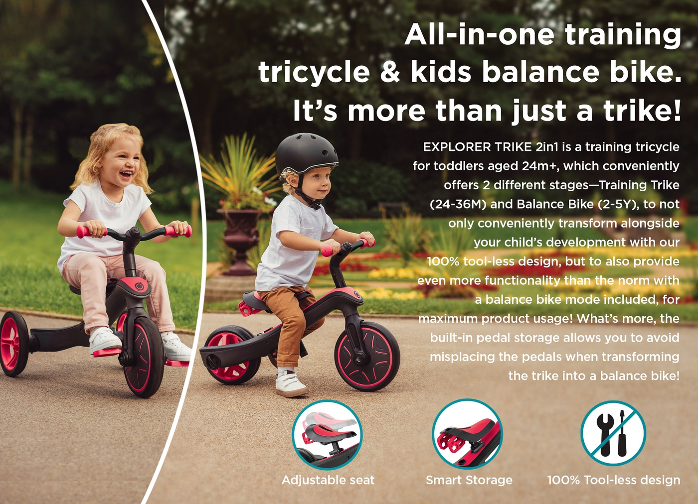 All-in-one training tricycle & kids balance bike. It's more than just a trike!