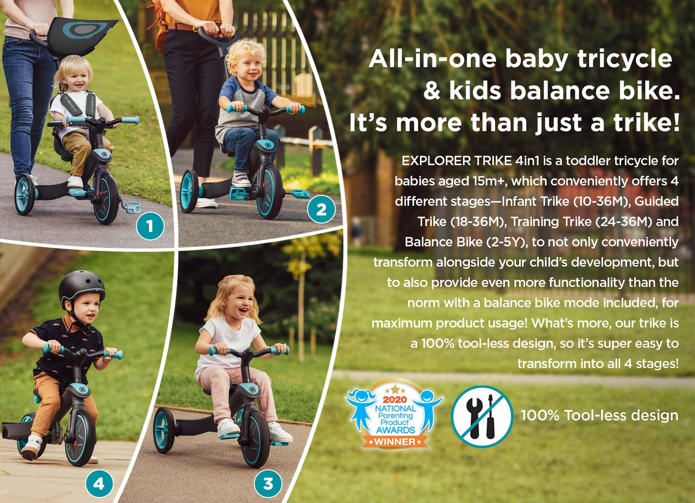 All-in-one baby tricycle & kids balance bike. It's more than just a trike!