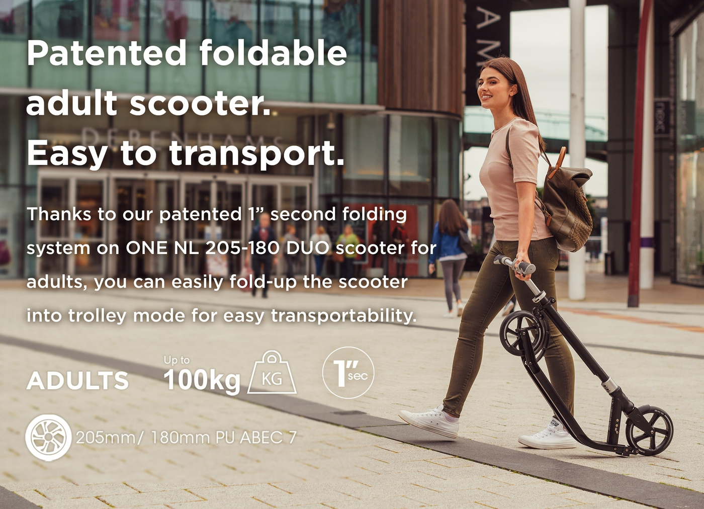Patented foldable adult scooter. Easy to transport.