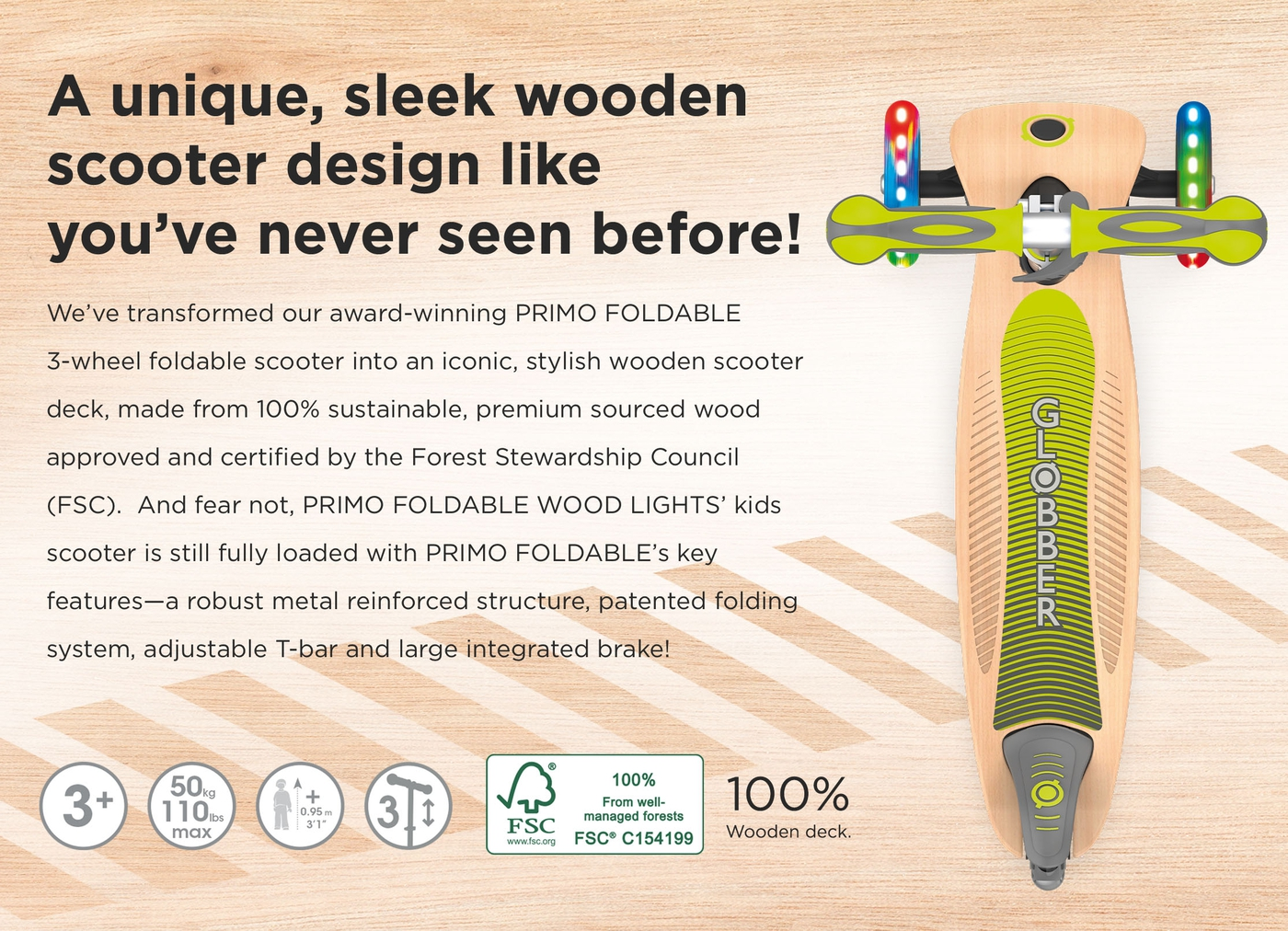 A unique, sleek wooden scooter design like you've never seen before!