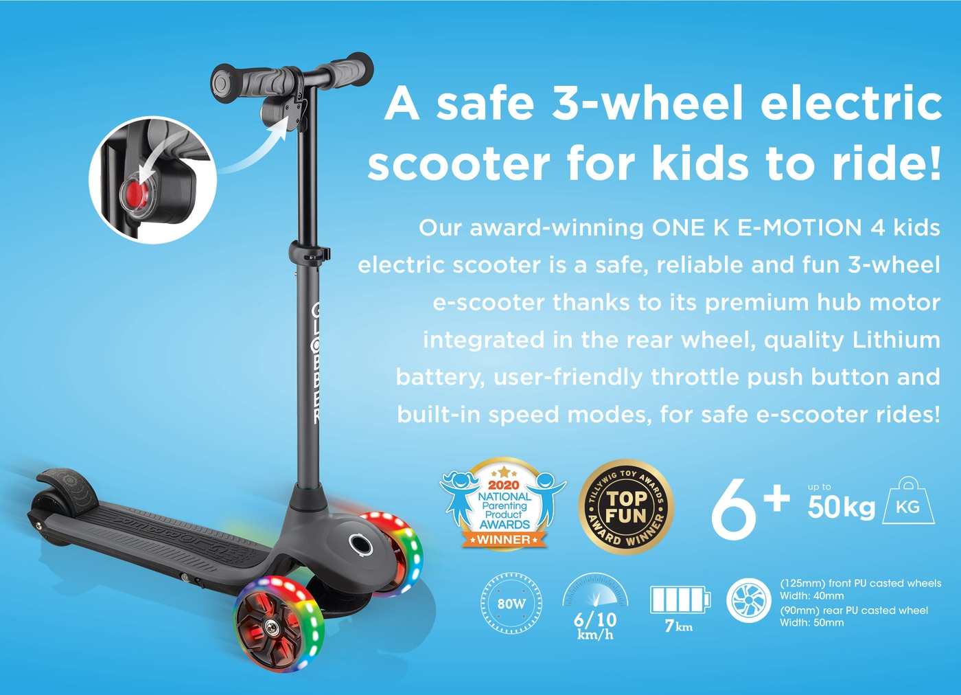 A safe 3-wheel electric scooter for kids to ride!