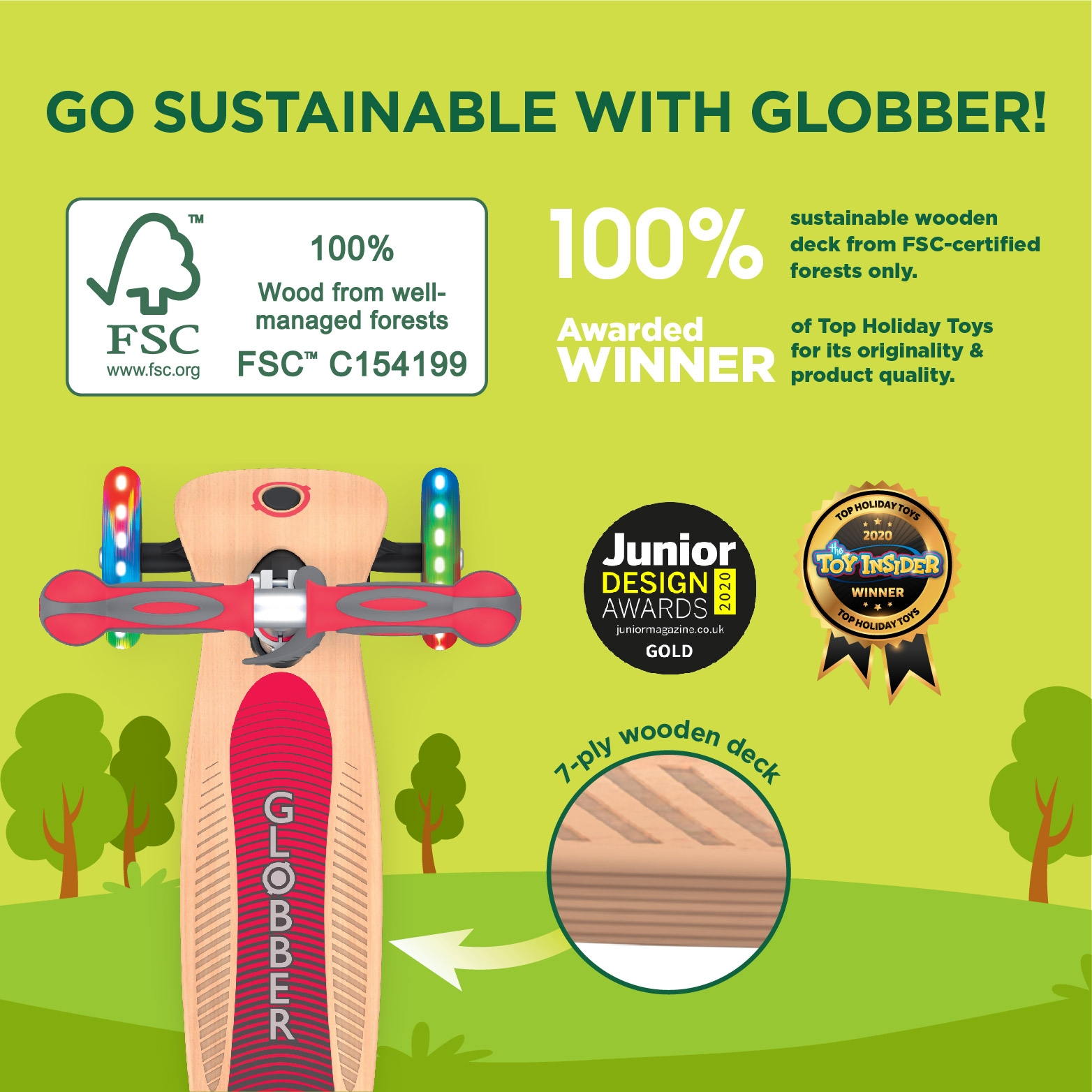 Globber-PRIMO-FOLDABLE-WOOD-LIGHTS-3-wheel-foldable-scooter-for-kids-FSC-certified-7-ply-wooden-scooter-deck