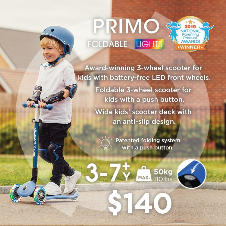PRIMO FOLDABLE LIGHTS award-winning 3-wheel scooter for kids with LED front wheels