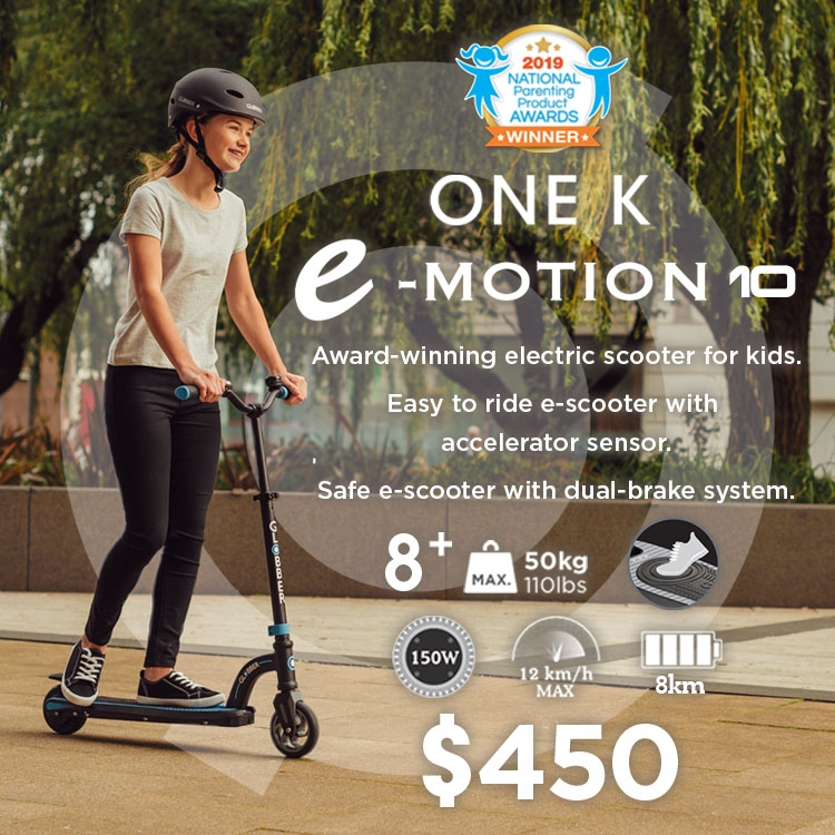 ONE K E-MOTION 10 electric scooter for kids aged 8+ and teens with 150W hub motor