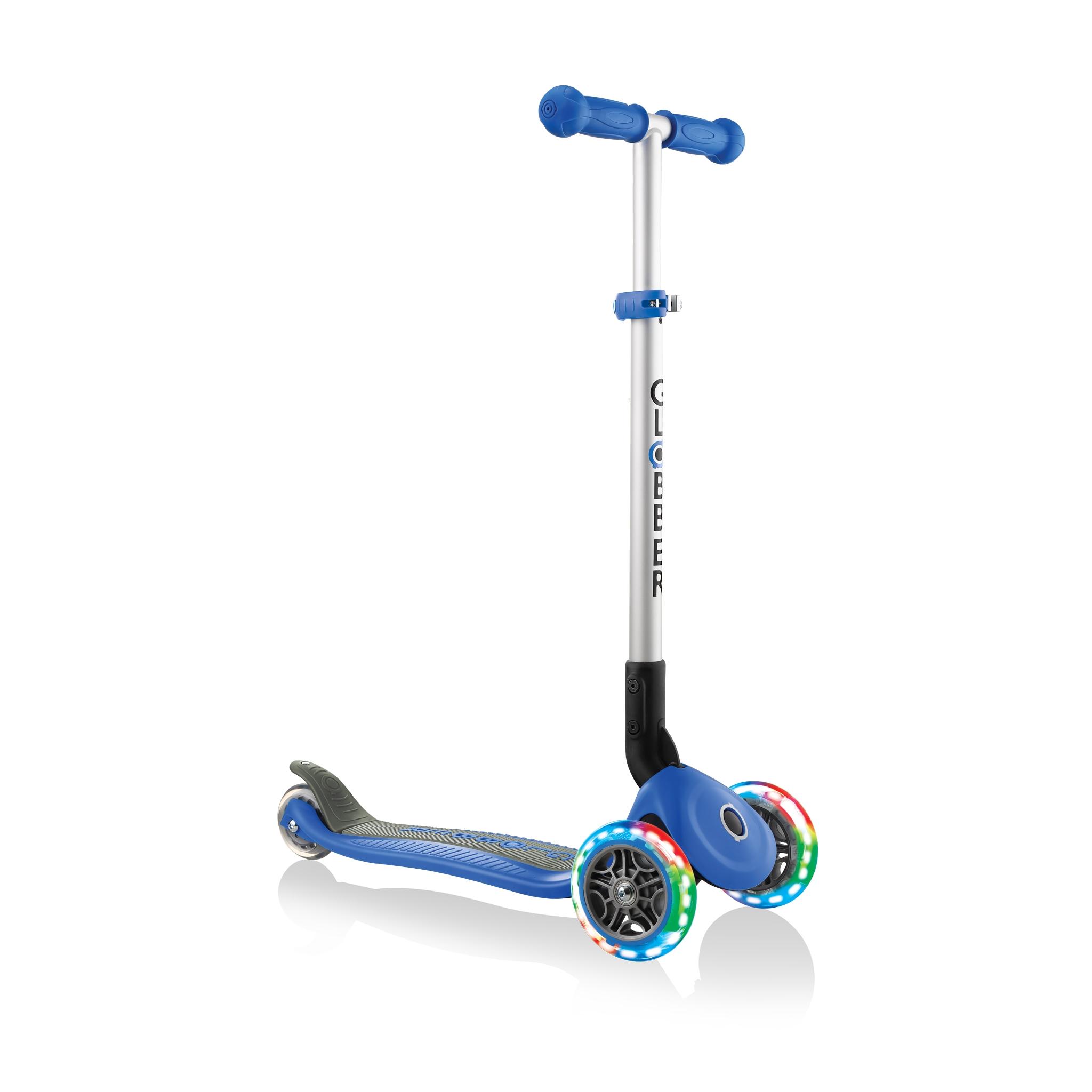 PRIMO-FOLDABLE-LIGHTS-3-wheel-foldable-scooter-light-up-scooter-for-kids-navy-blue 1