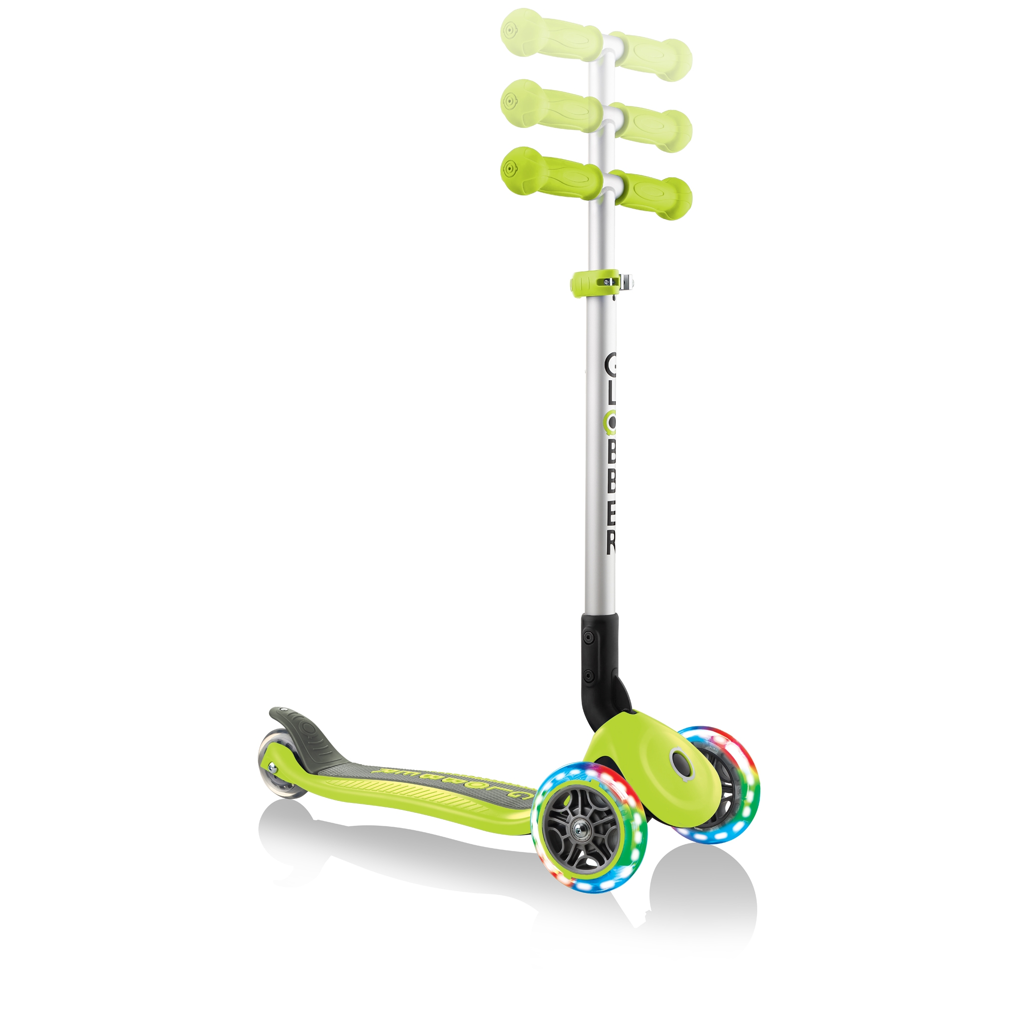 PRIMO-FOLDABLE-LIGHTS-adjustable-scooter-for-kids-lime-green