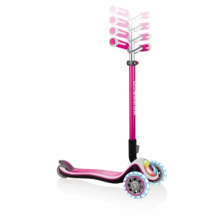 Globber-ELITE-PRIME-best-3-wheel-foldable-scooter-for-kids-with-adjustable-t-bar-pink