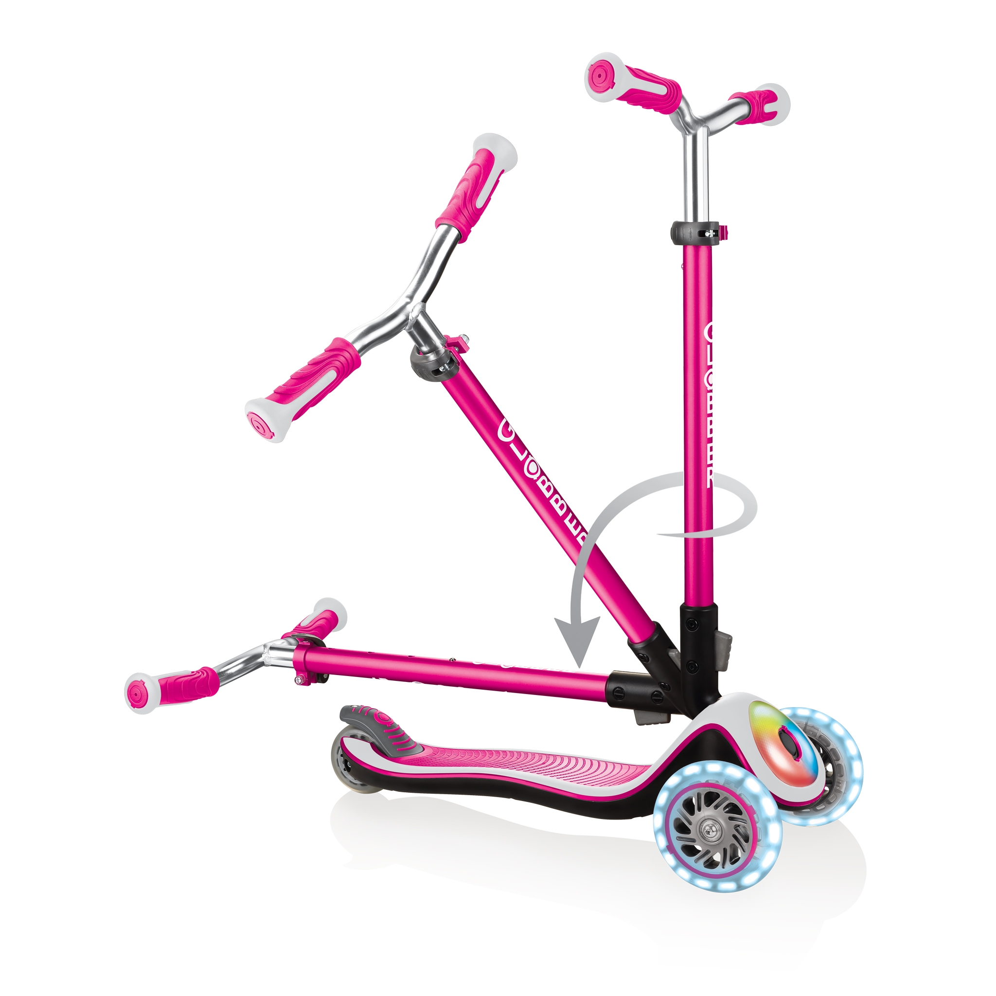 Globber-ELITE-PRIME-best-3-wheel-scooter-for-kids-with-patented-folding-system-pink