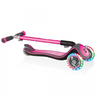 Globber-ELITE-DELUXE-LIGHTS-3-wheel-foldable-scooter-for-kids-with-light-up-scooter-wheels-deep-pink