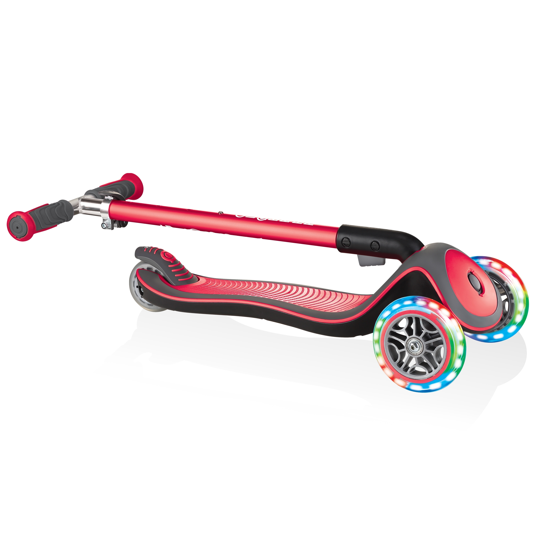 Globber-ELITE-DELUXE-LIGHTS-3-wheel-foldable-scooter-for-kids-with-light-up-scooter-wheels-new-red