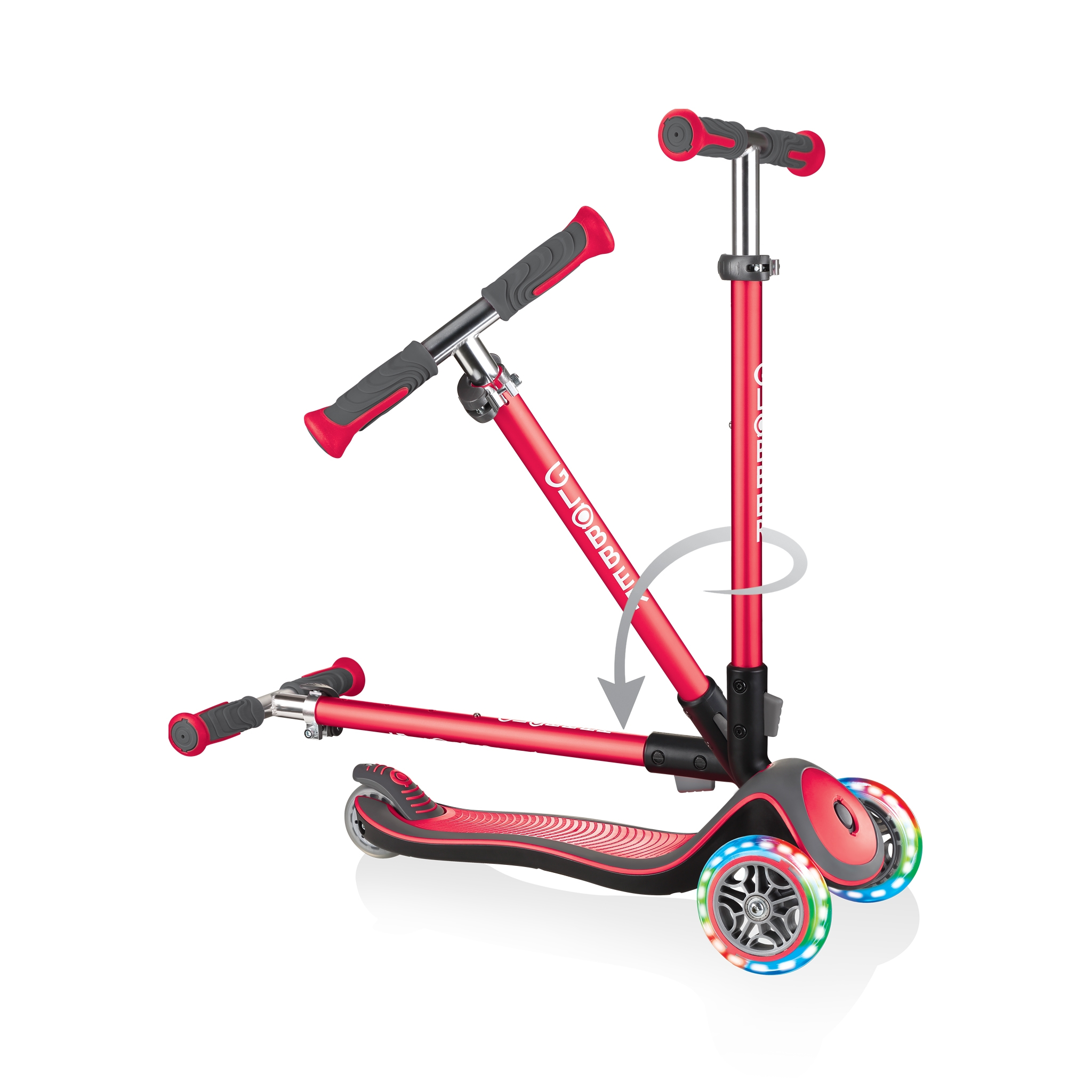 Globber-ELITE-DELUXE-LIGHTS-3-wheel-light-up-scooter-for-kids-fold-up-scooter-new-red