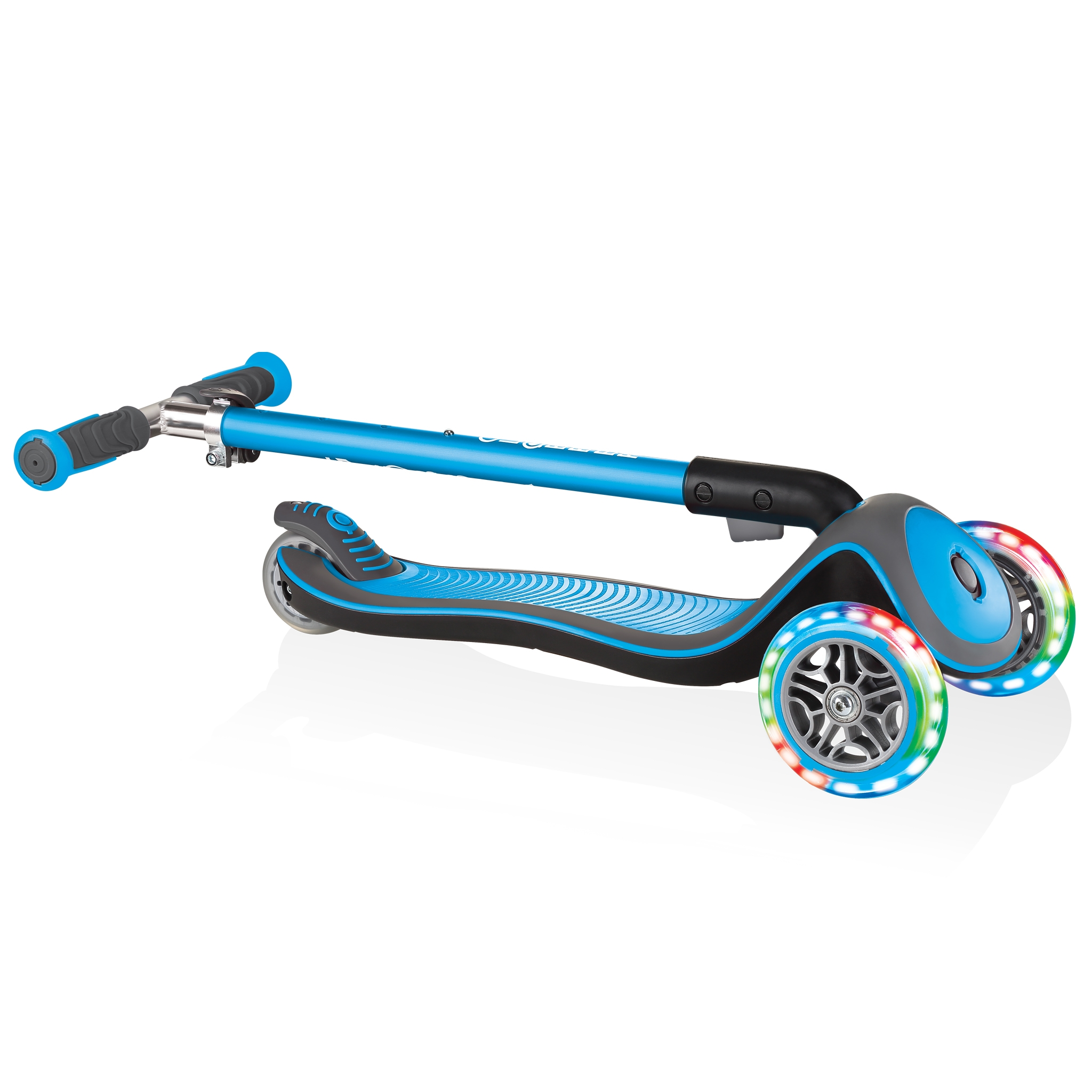 Globber-ELITE-DELUXE-LIGHTS-3-wheel-foldable-scooter-for-kids-with-light-up-scooter-wheels-sky-blue