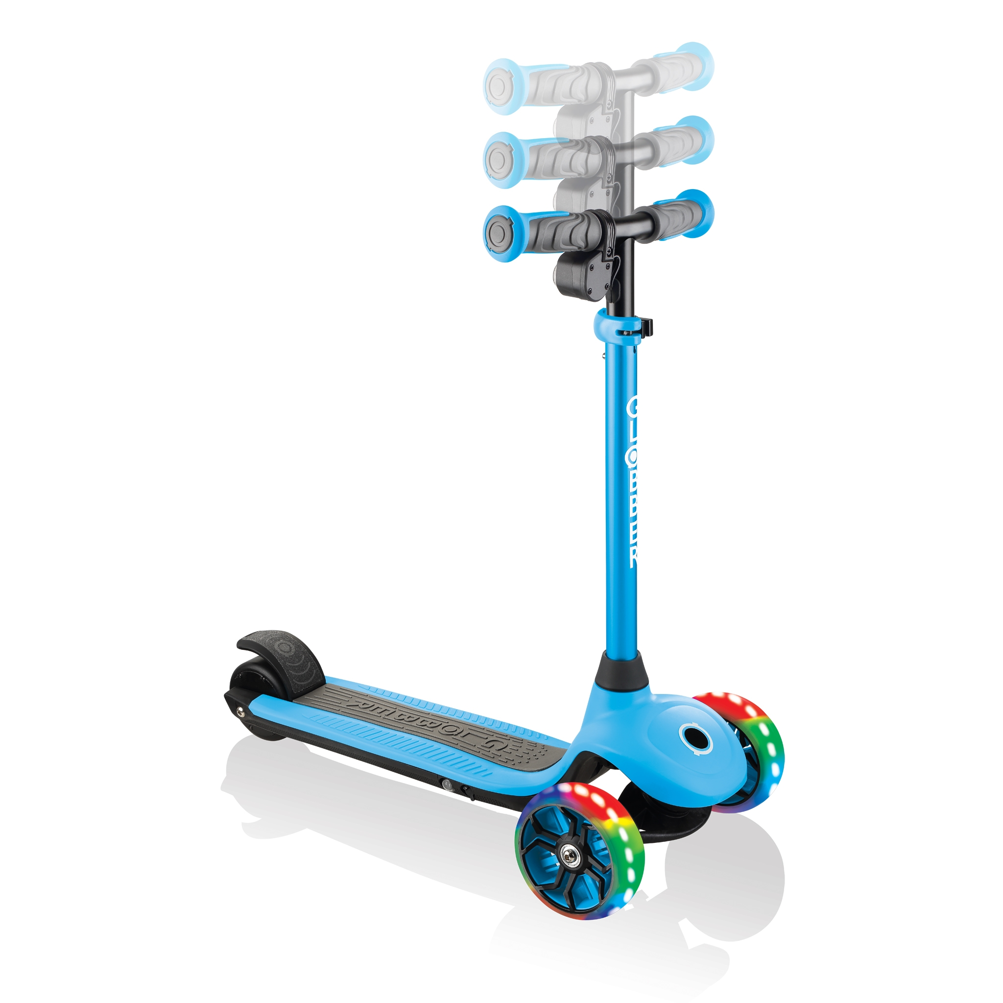 Globber-ONE-K-E-MOTION-4-award-winning-electric-scooter-for-kids-with-adjustable-T-bar-and-2-speed-modes_sky-blue 1