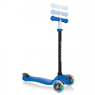 GO-UP-SPORTY-LIGHTS-ride-on-walking-bike-scooter-with-3-height-adjustable-T-bar-navy-blue