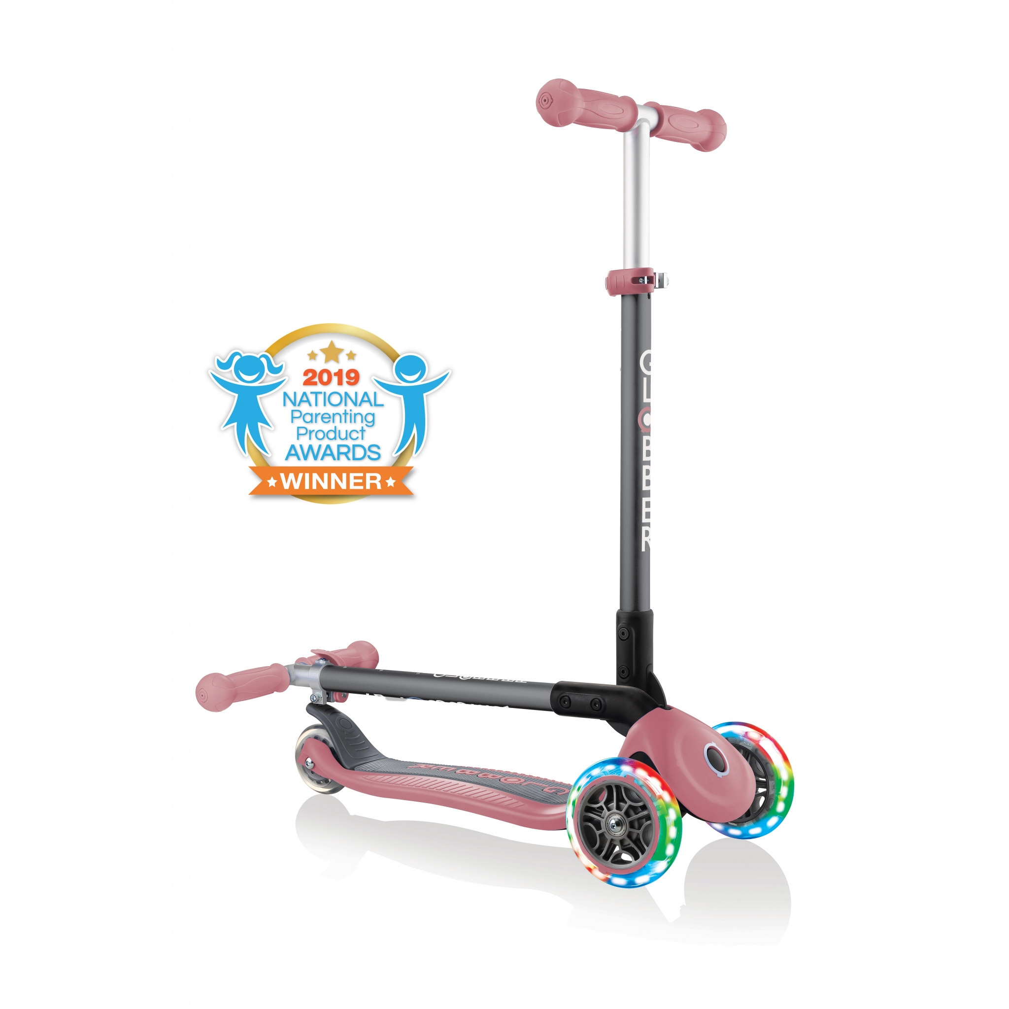 PRIMO-FOLDABLE-LIGHTS-3-wheel-fold-up-scooter-for-kids-pastel-deep-pink 0