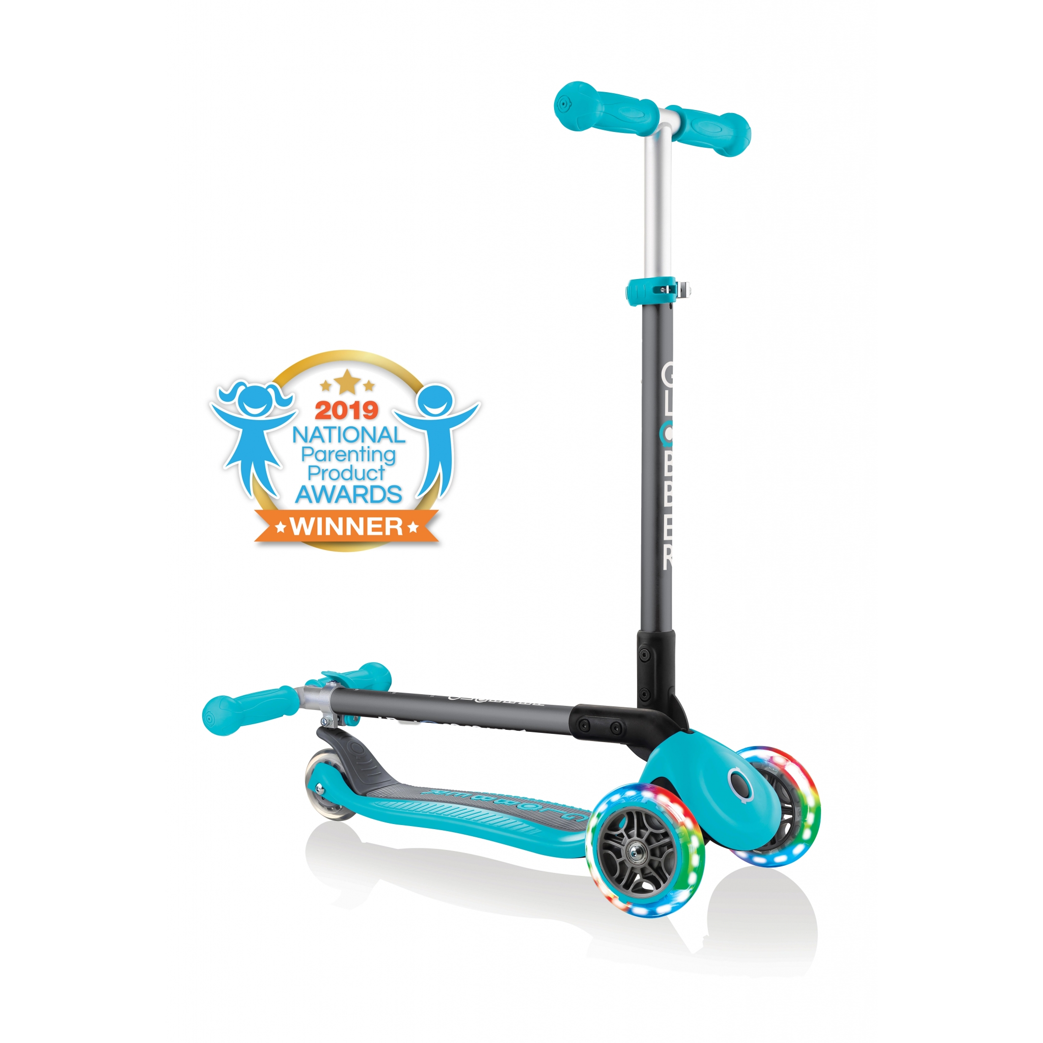 PRIMO-FOLDABLE-LIGHTS-3-wheel-fold-up-scooter-for-kids-teal 0