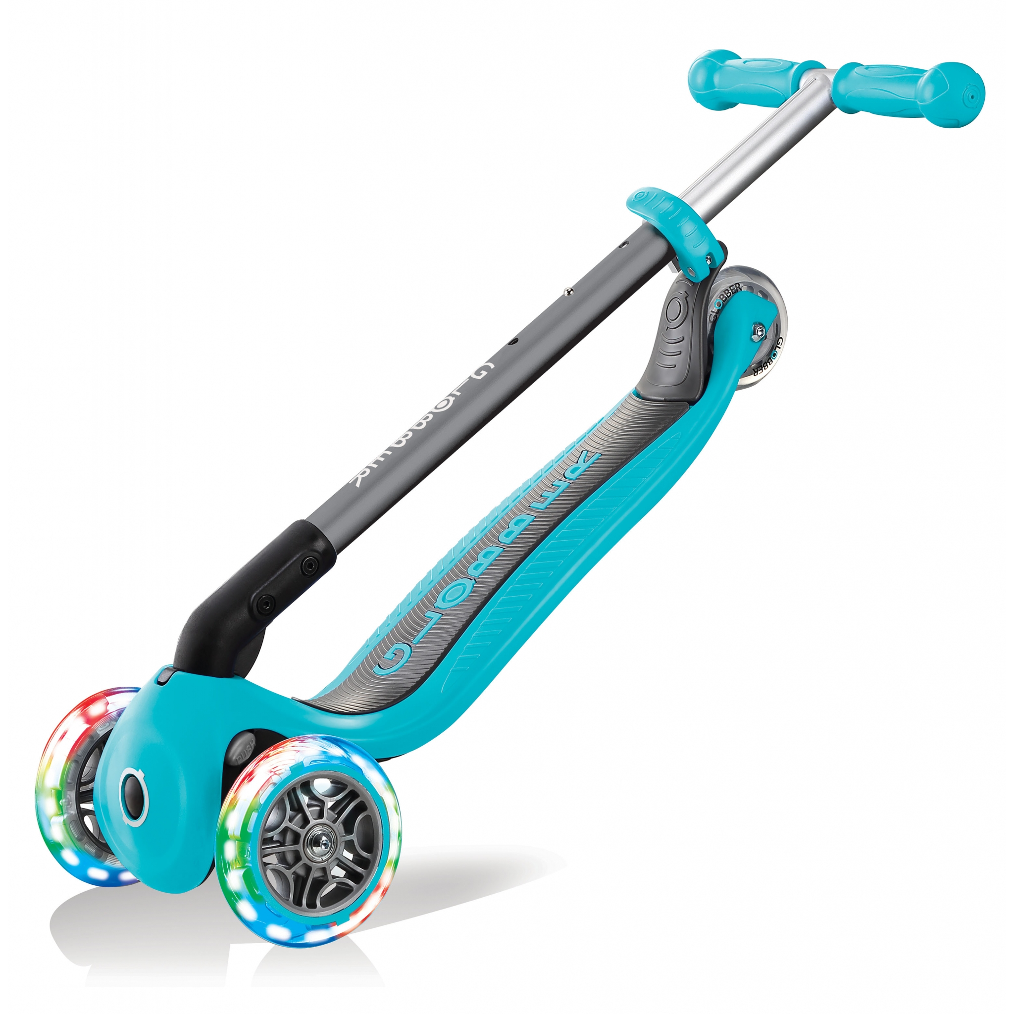 PRIMO-FOLDABLE-LIGHTS-3-wheel-foldable-scooter-for-kids-trolley-mode-teal 2