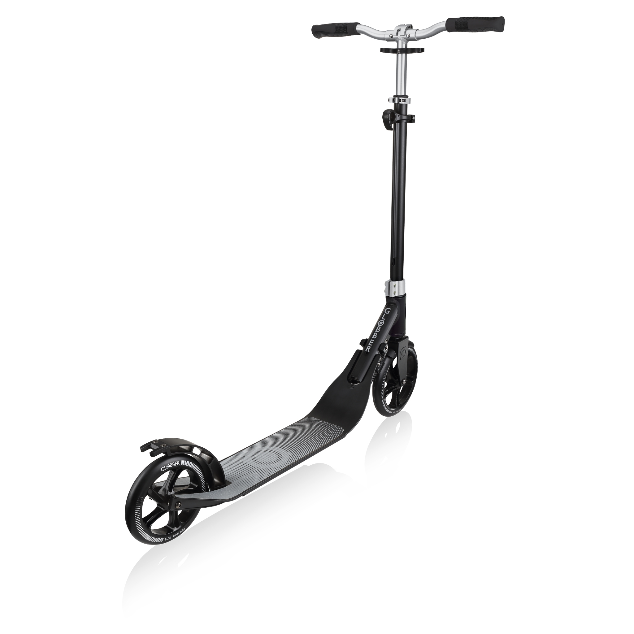 Globber-ONE-NL-205-180-DUO-2-wheel-foldable-scooter-for-adults-with-foldable-handlebar-lead-grey